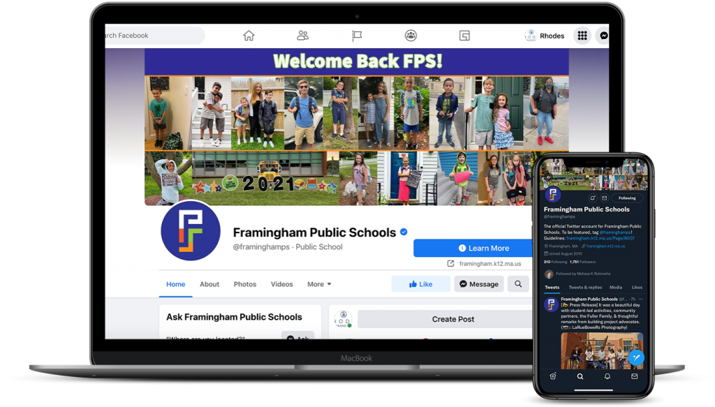 Framingham Facebook and Twitter pages